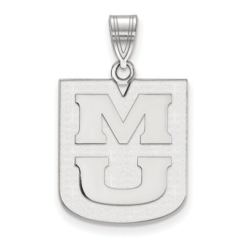 Sterling Silver 1/2in University of Missouri Tiger Oval Pendant with 18in Chain
