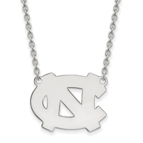 Silver University of North Carolina NC Pendant with 18in Chain
