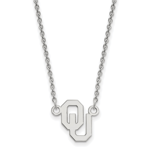 Sterling Silver 1/2in University of Oklahoma OU Pendant with 18in Chain