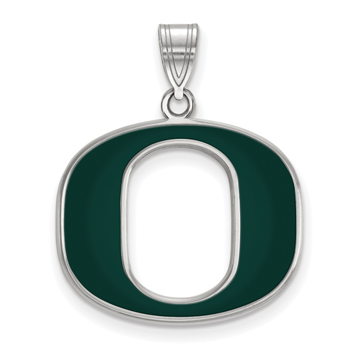 Sterling Silver 3/4in University of Oregon O Green Enamel Pendant