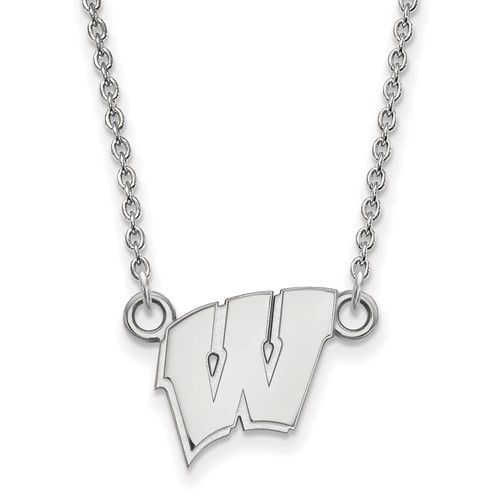Silver 1/2in University of Wisconsin W Pendant with 18in Chain