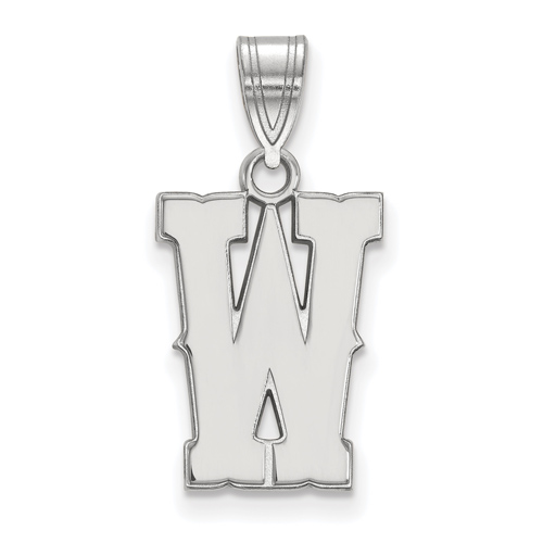 Sterling Silver 5/8in University of Wyoming W Pendant