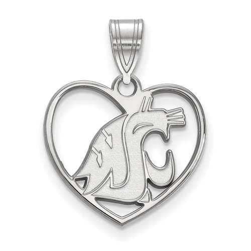 Sterling Silver 5/8in Washington State University Pendant in Heart