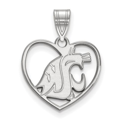 Sterling Silver 5/8in Washington State University Pendant in Heart