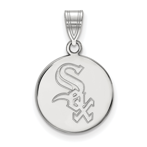 14kt White Gold 5/8in Round Chicago White Sox Pendant