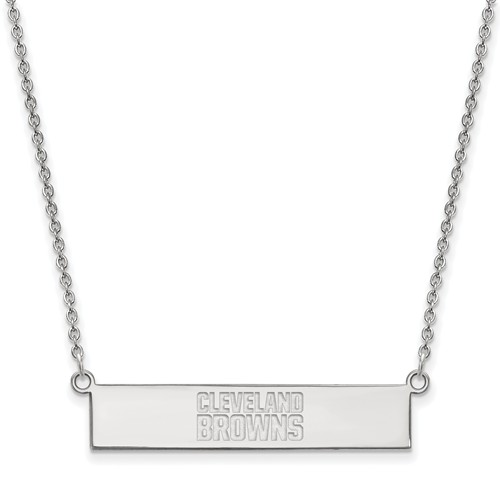 14k White Gold Cleveland Browns Bar Necklace