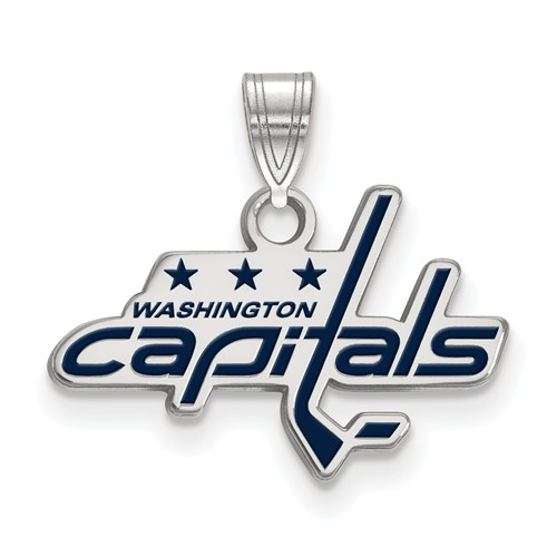Sterling Silver 1/2in Washington Capitals Enamel Pendant