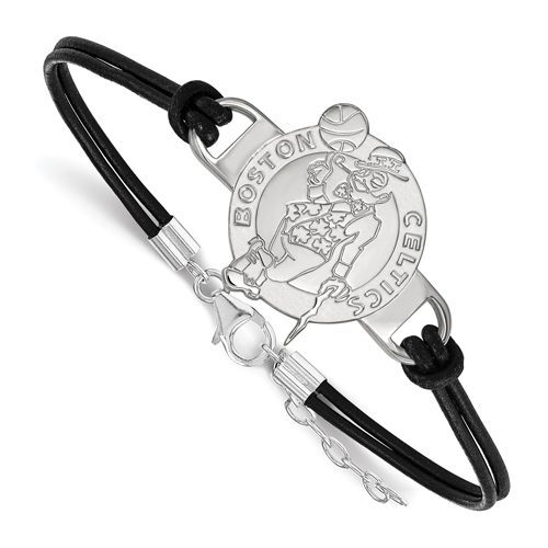 Sterling Silver Boston Celtics Lucky Leather Bracelet