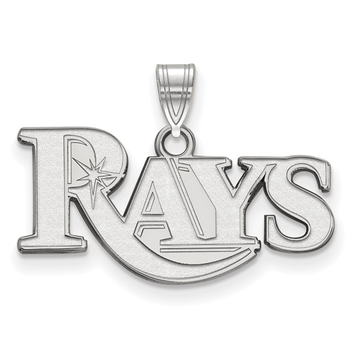 14k White Gold 3/8in Tampa Bay Rays Pendant