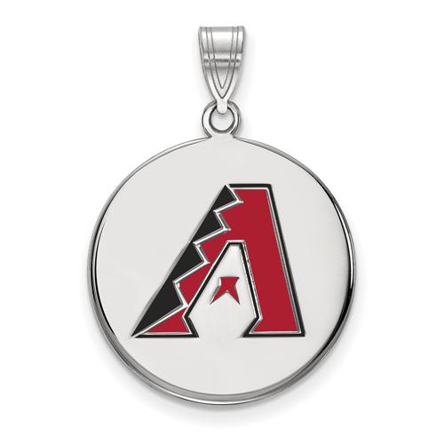 Sterling Silver 3/4in Arizona Diamondbacks Enamel Pendant