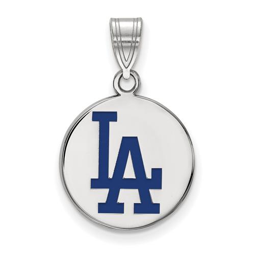 Sterling Silver 5/8in Los Angeles Dodgers Enamel Disc Pendant