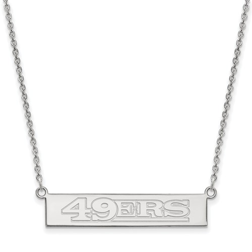 Sterling Silver San Francisco 49ers Bar Necklace