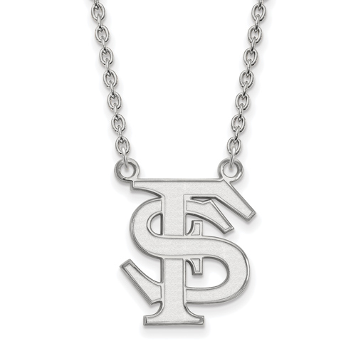 Sterling Silver 3/4in Florida State University FS Pendant with 18in Chain
