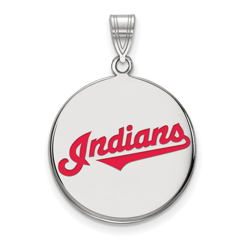Sterling Silver 3/4in Cleveland Indians Enamel Pendant