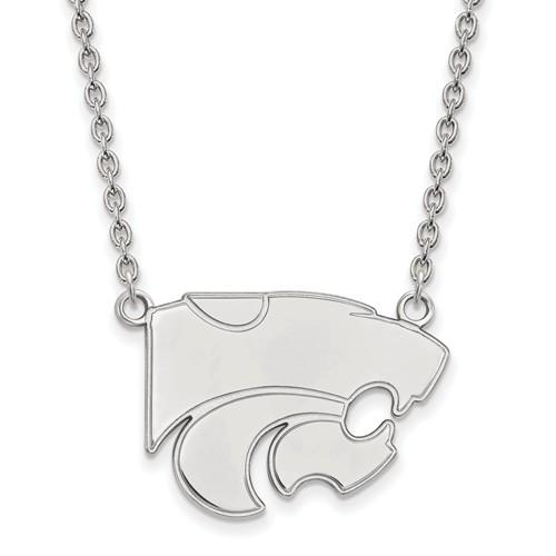 Kansas State University Wildcat Necklace 3/4in 14k White Gold