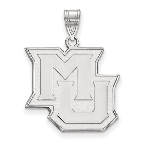Marquette University MU Pendant 3/4in 10k White Gold