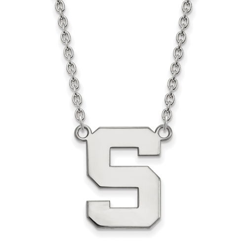 Sterling Silver Michigan State Block S Pendant with 18in Chain