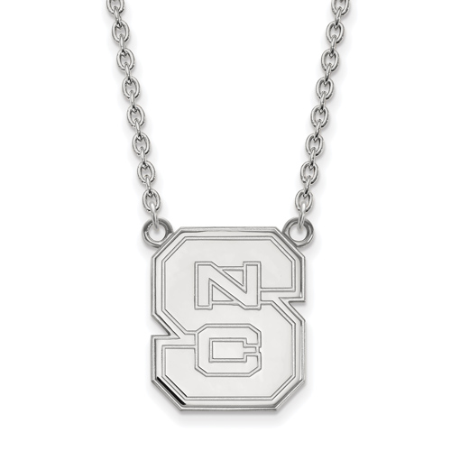 Sterling Silver North Carolina State University Block S Pendant with 18in Chain