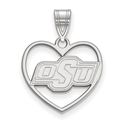 Sterling Silver 5/8in Oklahoma State University Pendant in Heart