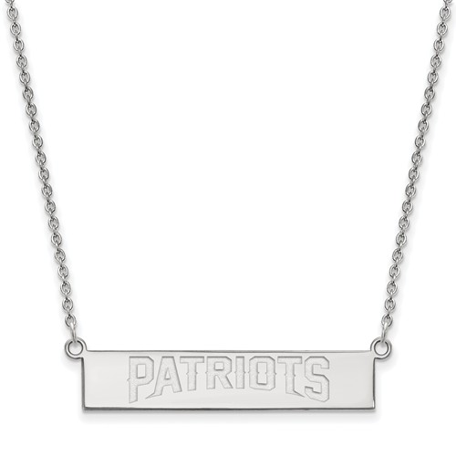 Sterling Silver New England Patriots Bar Necklace
