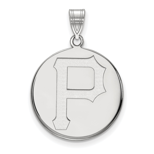 10k White Gold 3/4in Pittsburgh Pirates Disc Pendant