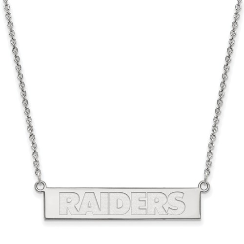 Sterling Silver Oakland Raiders Bar Necklace