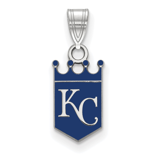 Sterling Silver 1/2in Kansas City Royals Enamel Crown Pendant