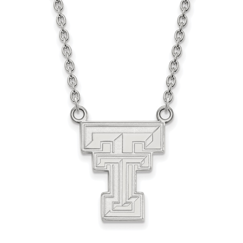 Sterling Silver Texas Tech University Logo Pendant with 18in Chain