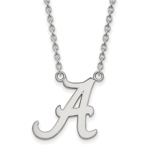 Sterling Silver University of Alabama A Logo Pendant with 18in Chain