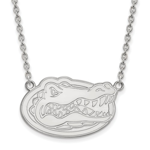 Silver University of Florida Gator Head Pendant with 18in Chain