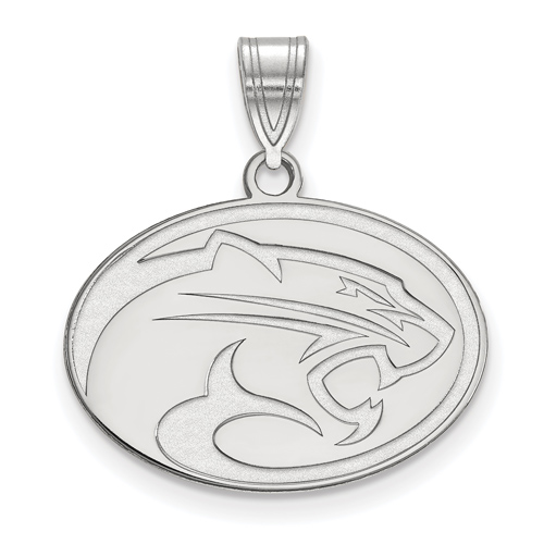 14kt White Gold 5/8in University of Houston Cougar Oval Pendant