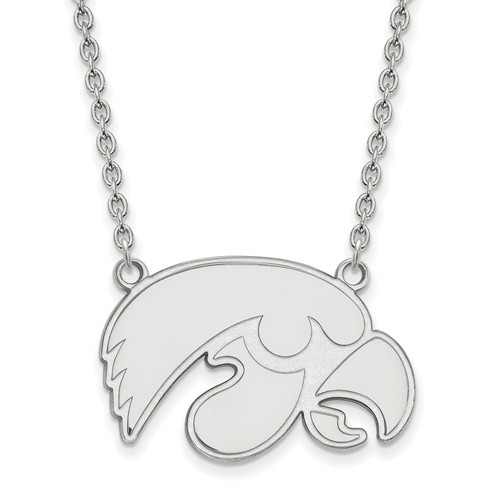 University of Iowa Logo Necklace 3/4in Sterling Silver