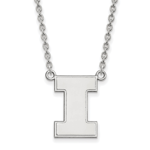Sterling Silver University of Illinois Block I Pendant with 18in Chain