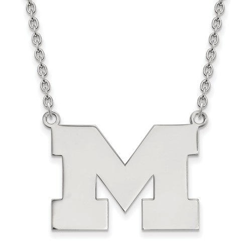Sterling Silver 3/4in University of Michigan M Pendant with 18in Chain