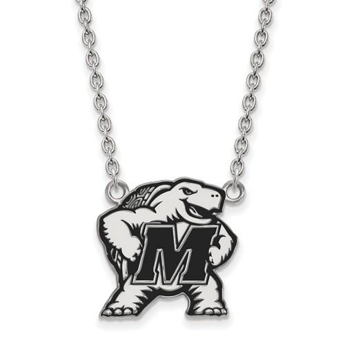 Sterling Silver University of Maryland Terrapin Black Enamel Necklace
