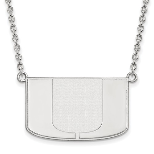 Sterling Silver University of Miami U Pendant with 18in Chain