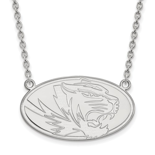 Sterling Silver University of Missouri Tiger Oval Pendant with 18in Chain