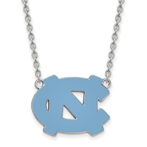 Sterling Silver University of North Carolina NC Enamel Pendant with 18in Chain