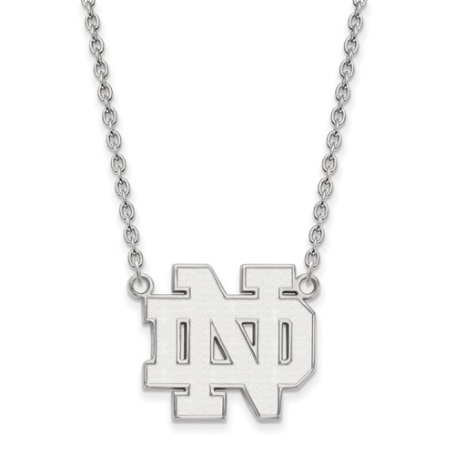 Sterling Silver University of Notre Dame Pendant with 18in Chain
