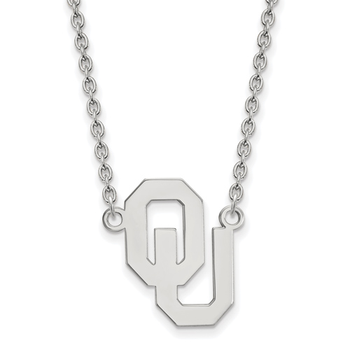 Sterling Silver University of Oklahoma OU Pendant with 18in Chain