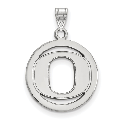 Sterling Silver 5/8in University of Oregon Pendant in Circle