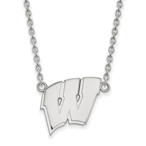Sterling Silver University of Wisconsin W Pendant with 18in Chain