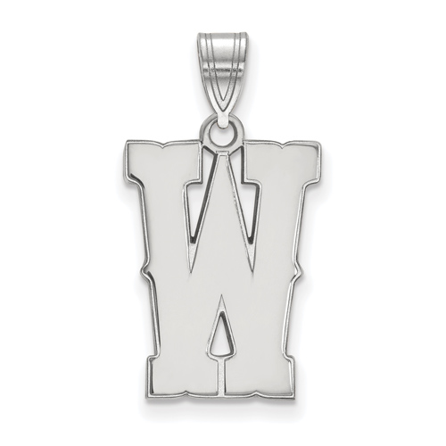 Sterling Silver 3/4in University of Wyoming W Pendant