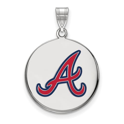 Sterling Silver 7/8in Atlanta Braves Enamel Disc Pendant