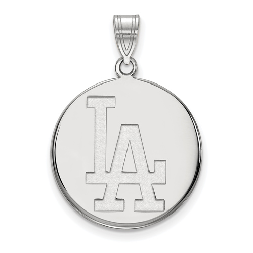 14k White Gold 7/8in Los Angeles Dodgers Disc Pendant