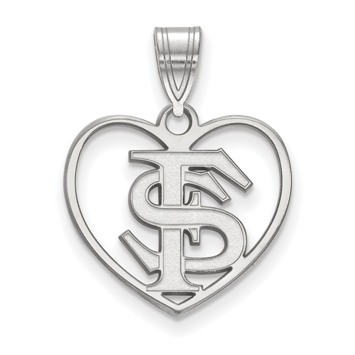 Sterling Silver 5/8in Florida State University Pendant in Heart