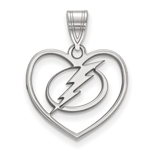 Sterling Silver 5/8in Tampa Bay Lightning Heart Pendant