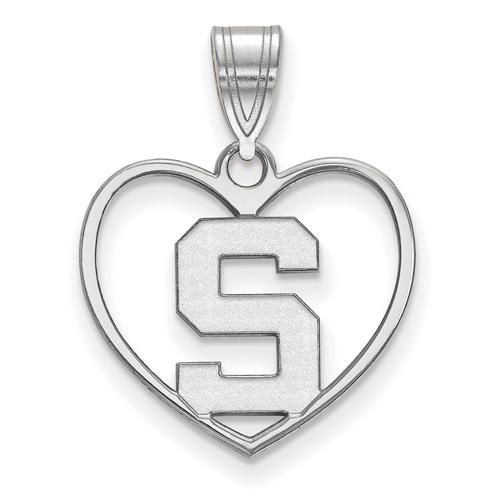 Sterling Silver 5/8in Michigan State University Pendant in Heart