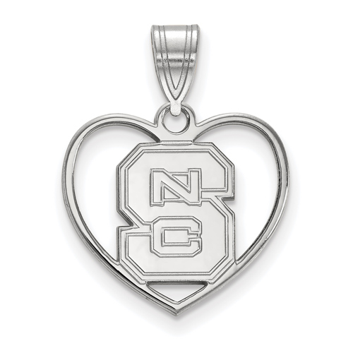 Sterling Silver 5/8in North Carolina State University Pendant in Heart