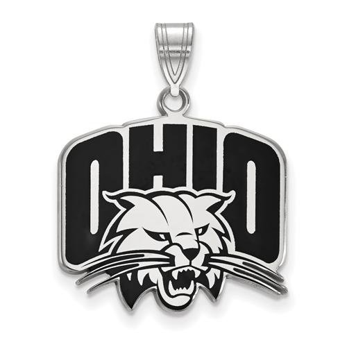Ohio University Enamel Pendant 3/4in Sterling Silver